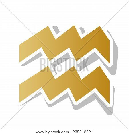 Aquarius Sign Illustration. Vector. Golden Gradient Icon With White Contour And Rotated Gray Shadow