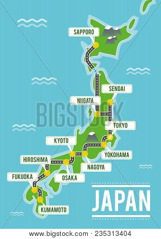 Cartoon Vector Map Of Japan. Travel Illustration With Japanese Main Cities.