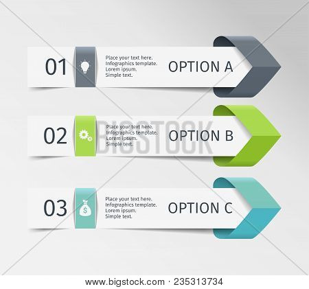 Infographic Arrows. Vector Design Template Of 3 Options, Steps, Parts. Can Be Used For Workflow Layo