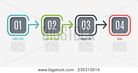 Business Infographics. Timeline With 4 Steps, Square. Vector Infographic Element. Can Be Used For We