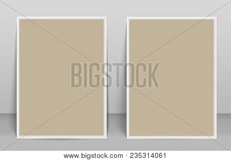 Two Blank Photo Frame Brochure Mockup Cover Template.