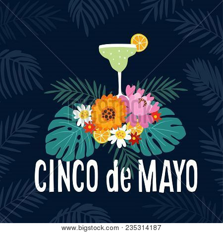 Hand Drawn Mexican Holiday Cinco De Mayo Party Greeting Card, Invitation. Margarita Alcoholic Cockta