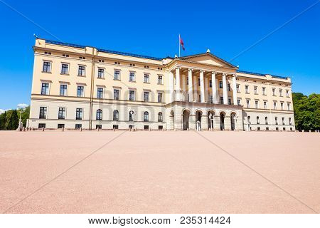 Royal Palace In Oslo, Norway. Royal Palace Is The Official Residence Of The Present Norwegian Monarc