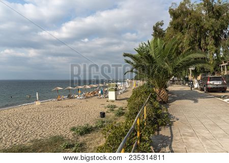 Chalkidiki, Central Macedonia, Greece - August 25, 2014: Panoramic View Of Alkinoos Beach At Sithoni
