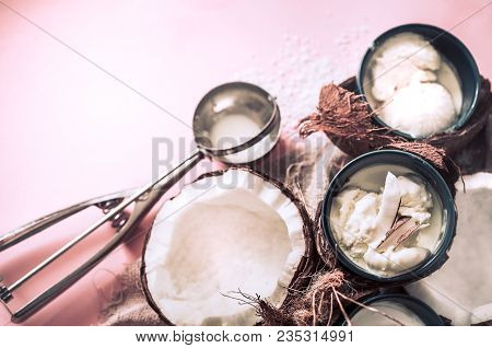 Coconut Ice Cream On A Pink Background