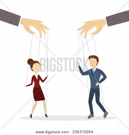 Manipulation Of Employees. Hands Holding Puppet Strings With Man And Woman.