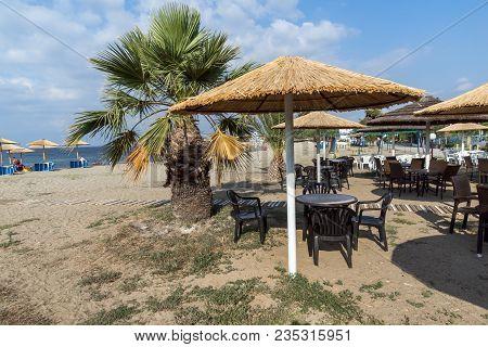 Chalkidiki, Central Macedonia, Greece - August 25, 2014: Seascape Of Gerakini Beach At Sithonia Peni
