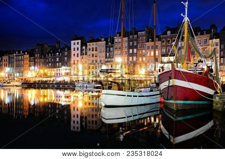 Beautiful Honfleur Harbor At Night With Boats And Reflections, Normandy, France
