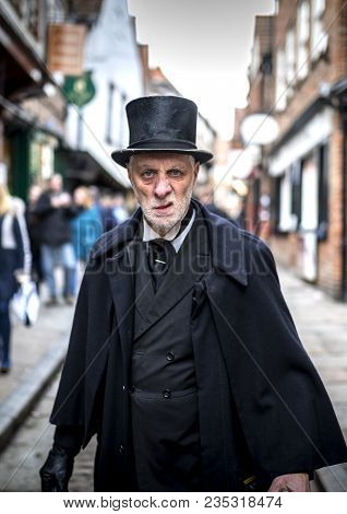 16th February 2018, The Shambles, York. Ghost Tour Guide Dressed As A Menacing Victorian Male Undert