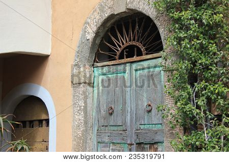 Detail Of  The Historic Center Of Tuscia With A Door
