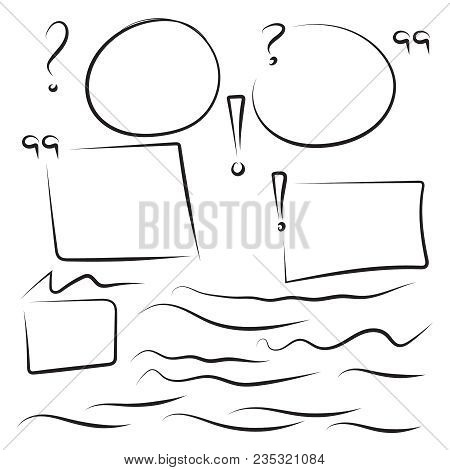 Set Hand Drawn Rectangle, Quotes, Circle, Question, Exclamation Mark, Underline Felt-tip Pen Objects