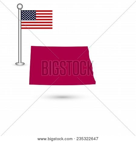 Map Of The U.s. State Of North Dakota On A White Background. American Flag