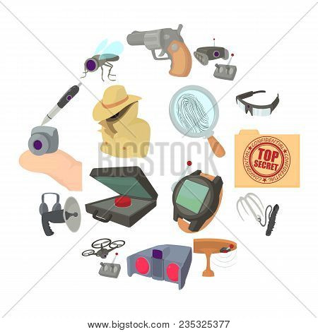 Spy And Security Icons Set. Cartoon Illustration Of 16 Spy And Security Vector Icons For Web