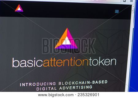 Ryazan, Russia - March 29, 2018 - Homepage Of Basic Attention Token On The Pc, Web - Basicattentiont