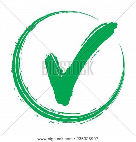 Vector Illustration With Green And Red Hand Drawn  Grungy Check Mark. Green Check Mark Icon. Tick Sy