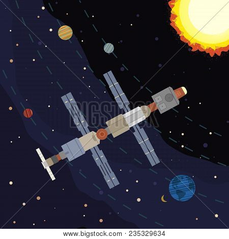 Outer Space Poster. Satellite Flight. Colorful Abstract Cartoon. Cosmic Universe Travel. Space Stati