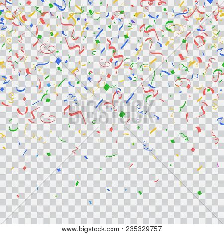 Colorful Bright Falling Confetti And Ribbon. Isolated Vector Object On Transparent Background. Festi