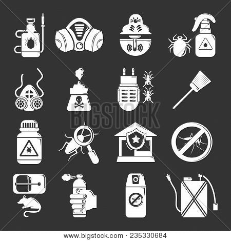 Pest Control Tools Icons Set Vector White Isolated On Grey Background