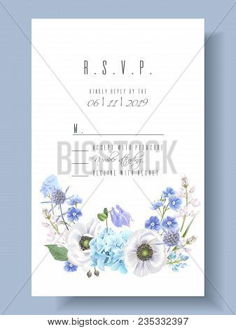 Vector Wedding Invitation With Blue Hydrangea And Anemone Flowers On White. R.s.v.p. Card. Romantic