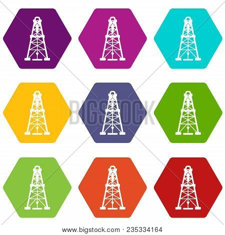 Oil Derrick Icons 9 Set Coloful Isolated On White For Web