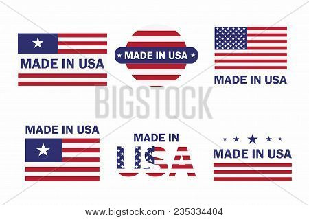 Set Of Made In The Usa Label With American Flag. American Patriotic Icon. Vector