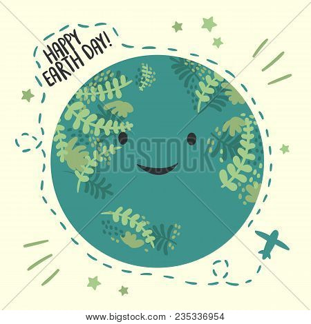Happy Planet Earth Day, April 22 Ecology Celebration. Greeting Card. Vector Background With Sky And