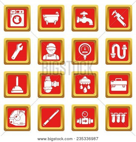 Plumber Symbols Icons Set Vector Red Square Isolated On White Background