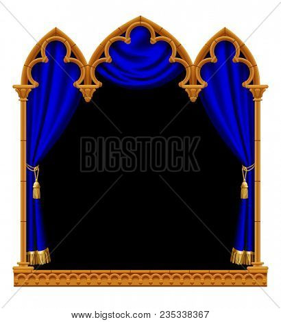 Classic gothic architectural decorative frame with a blue curtain on black. Vintage design element, cover and poster template isolated on white