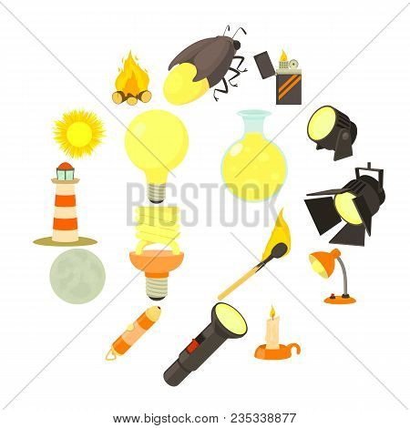 Light Source Icons Set. Cartoon Illustration Of 16 Light Source Items Vector Icons For Web