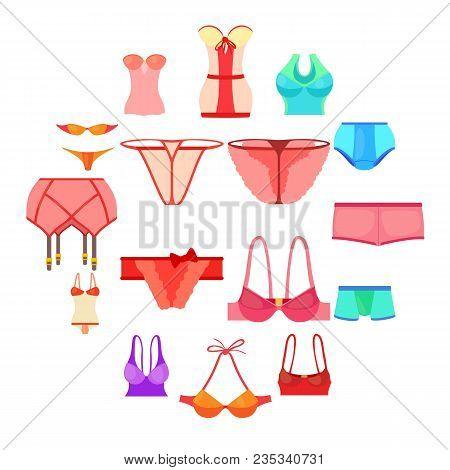 Underwear Icons Set Color. Cartoon Illustration Of 16 Underwear Color Vector Icons For Web
