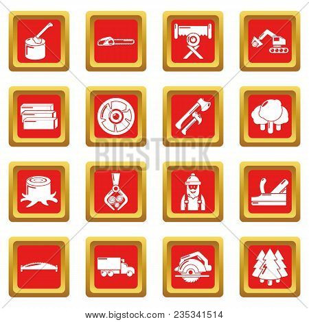 Timber Industry Icons Set Vector Red Square Isolated On White Background