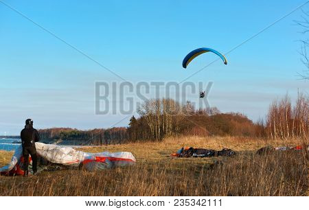 Paragliders Are Fond Of Flights, To Fly On A Paraglider, To Be Engaged In Sports On A Motor Paraglid
