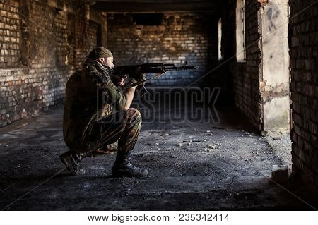 Arab Soldier Aiming With Kalashnikov Ak-47 Assault Rifle.
