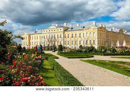 Rundale, Latvia - July, 2017: Rundale Palace Built In Baroque Style In Pilsrundale, Latvia