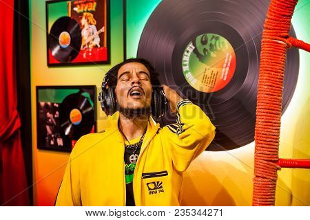 Amsterdam, Netherlands - March, 2017: Wax Figure Of Bob Marley Singer In Madame Tussauds Wax Museum