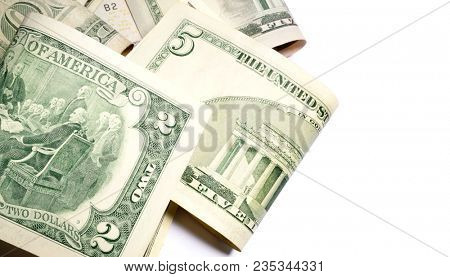 Money background, heap of dollars, financial concept of earnings. Financial, business, commercial and banking concept. American dollars. Rare two dollar bill