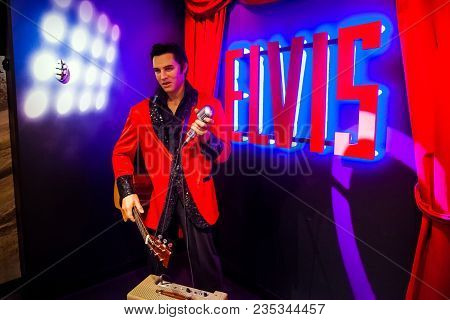 Amsterdam, Netherlands - March, 2017: Wax Figure Of Elvis Presley Singer In Madame Tussauds Wax Muse