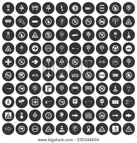 100 Road Signs Icons Set In Simple Style White On Black Circle Color Isolated On White Background Ve