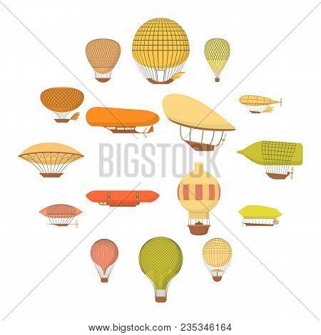 Airship Balloons Icons Set. Cartoon Illustration Of 16 Airship Balloons Vector Icons For Web