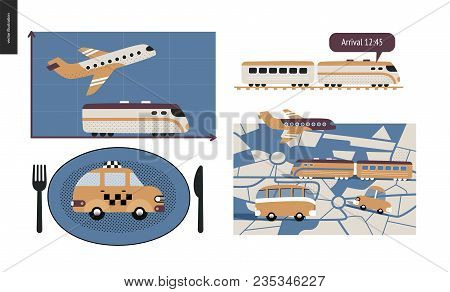 From Point A To Point B A Set Of Transportation Planning Concept - Airplane And Train Timetable Grap
