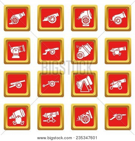 Cannon Retro Icons Set Vector Red Square Isolated On White Background