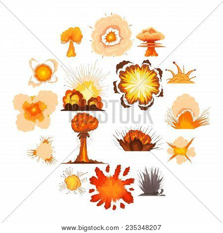 Explosion Effect Icons Set. Cartoon Illustration Of 16 Explosion Effect Vector Icons For Web