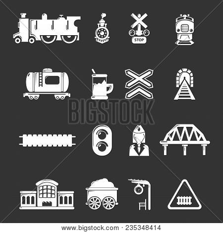 Train Railroad Icons Set Vector White Isolated On Grey Background