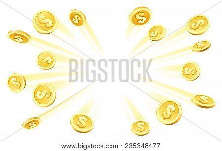 Coins Explosion. Gambling Gold Rain, Dollar Coins Heap Money Explosion For Casino Abundance Concept
