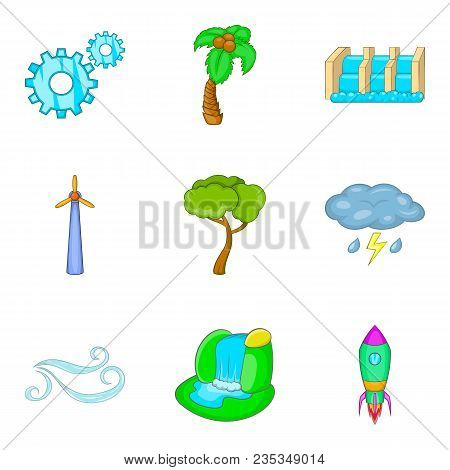 Waterworks Icons Set. Cartoon Set Of 9 Waterworks Vector Icons For Web Isolated On White Background