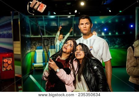 Amsterdam, Netherlands - March, 2017: Wax Figure Of Cristiano Ronaldo Soccer Player In Madame Tussau