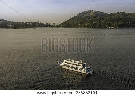 Boats Sailing In Andaman Sea Front Of The Island Phuket In Phang Nga Bay Thailand