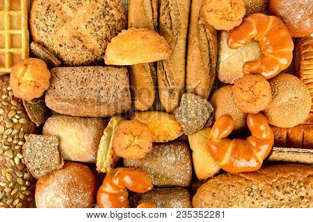 Top view of bread and rolls. Healthy food background.