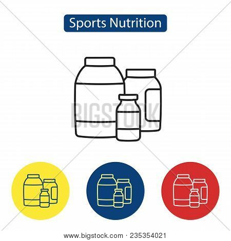 Sport Nutrition Fit Icons. Nutritional Dietary Supplements Line Outline Icons Vector Illustration. F