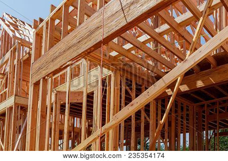New Residential Construction Home Framing With Roof View Construction Home Framing